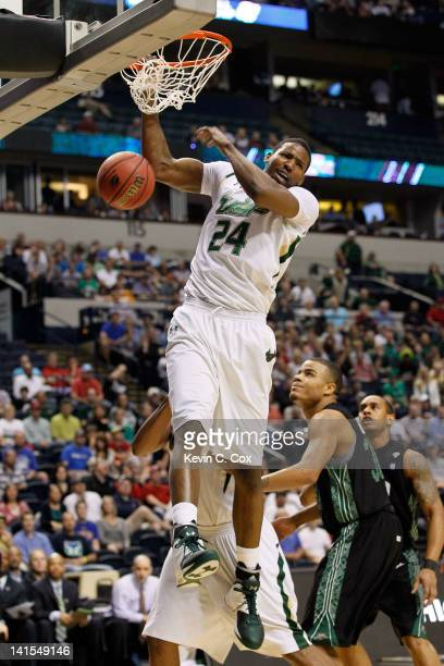 Augustus Gilchrist of the South Florida Bulls dunks the ball against the Ohio Bobcats during the third round of the 2012 NCAA Men's Basketball...