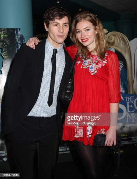 Augustus Prew and Imogen Poots arrive at the UK film premiere of The Secret of Moonacre at the Vue Leicester Square London