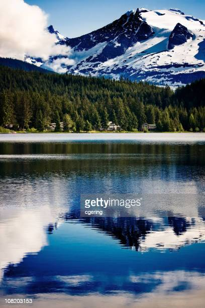Auke Lake with Mountain Reflection on Water