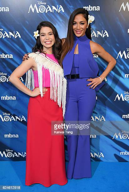 Auli'i Cravalho and Nicole Scherzinger attend the UK Gala screening of 'MOANA' at BAFTA on November 20 2016 in London England