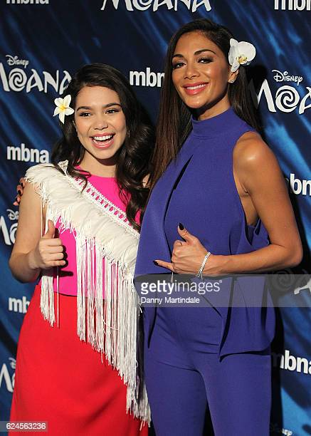 Auli'i Cravalho and Nicole Scherzinger attends the UK Gala screening of 'MOANA' at BAFTA on November 20 2016 in London England