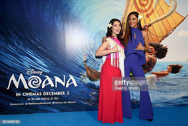 Auli'i Cravalho and Nicole Sherzinger attend the UK Gala screening of Disney's 'MOANA' at BAFTA on November 20 2016 in London England