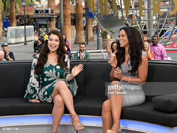 Auli'i Cravalho and Tracey Edmonds visit 'Extra' at Universal Studios Hollywood on November 16 2016 in Universal City California