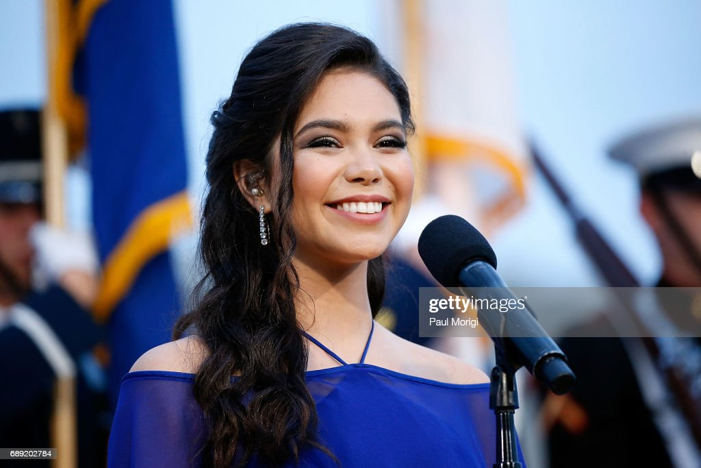 Auli'i Cravalho of the hit Disney film 'Moana' rehearses for PBS' 2017 National Memorial Day Concert at U.S. Capitol, West Lawn on May 27, 2017 in Washington, DC.