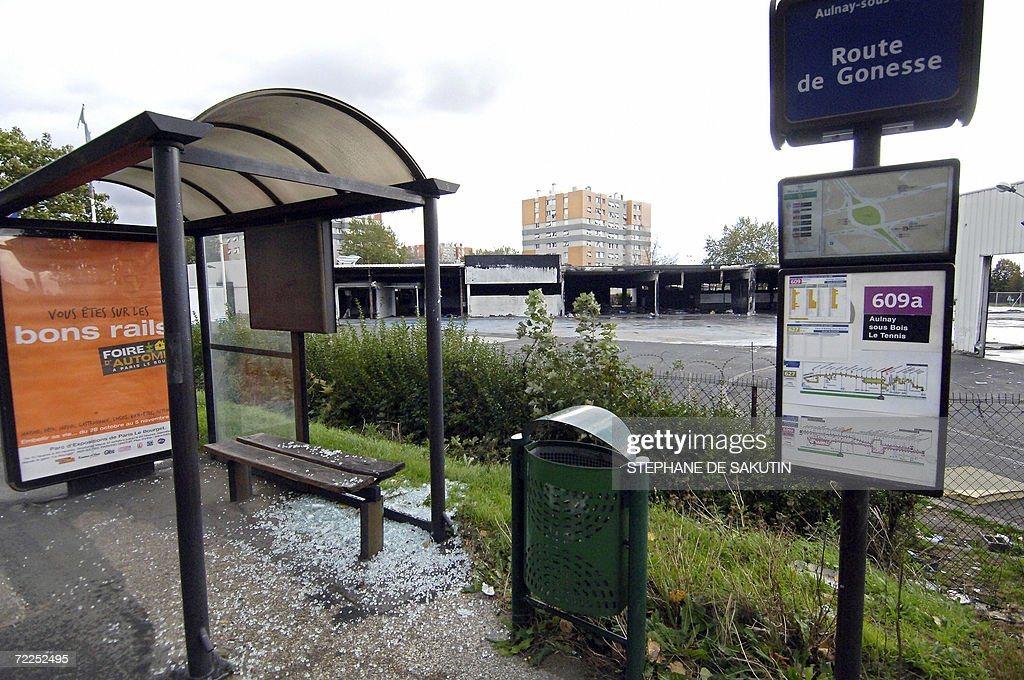 Picture taken 24 October 2006 of a destroyed bus stop in AulnaysousBois where riots erupted last year following the 27 October 2005 death by...