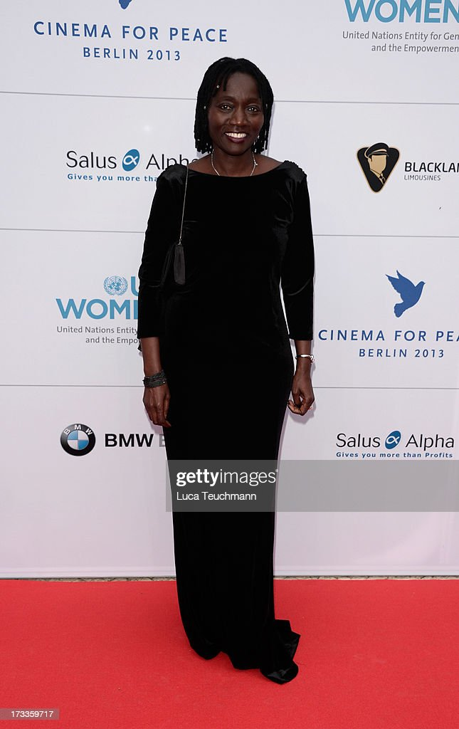 Auma Obama arrives for the Cinema for Peace UN women honorary dinner at Soho House on July 12, 2013 in Berlin, Germany.