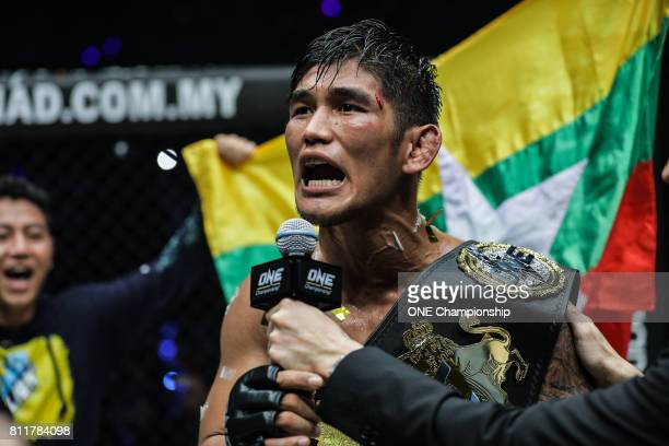 Aung La N Sang celebrates his historic title win claiming the ONE Middleweight World Championship during ONE Championship Light Of A Nation at the...