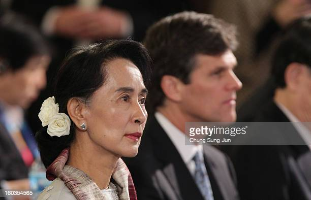 Aung San Suu Kyi attends Global Development Summit on the sideline of the Pyeongchang Special Olympic on January 30 2013 in Pyeongchanggun South...