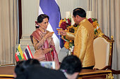Aung San Suu Kyi Myanmar state counselor left shares a toast with Prayuth ChanOcha Thailand's prime minister during a news conference at the...