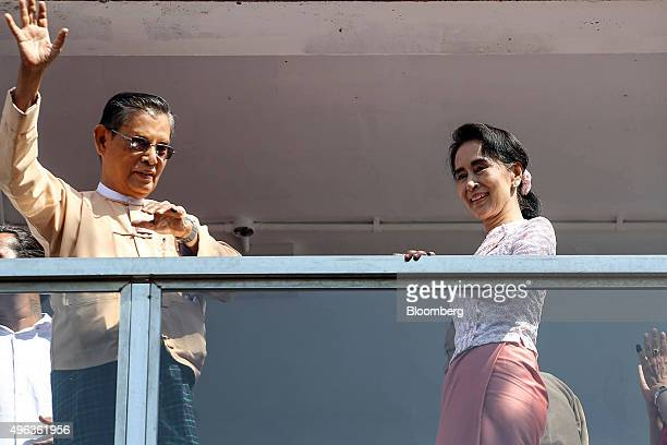 Aung San Suu Kyi Myanmar's opposition leader and chairperson of the National League for Democracy right and U Thin Oo vicechairman of the NLD stand...