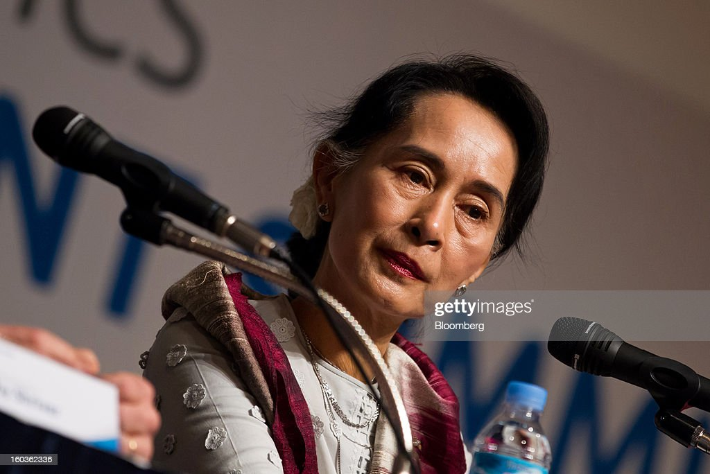 <a gi-track='captionPersonalityLinkClicked' href=/galleries/search?phrase=Aung+San+Suu+Kyi&family=editorial&specificpeople=214208 ng-click='$event.stopPropagation()'>Aung San Suu Kyi</a>, Myanmar's opposition leader, attends the Global Development Summit on the sidelines of the 2013 Pyeongchang Special Olympics Winter Games in Pyeongchang, South Korea, on Wednesday, Jan. 30, 2013. Suu Kyi is on a five-day visit to South Korea. Photographer: SeongJoon Cho/Bloomberg via Getty Images