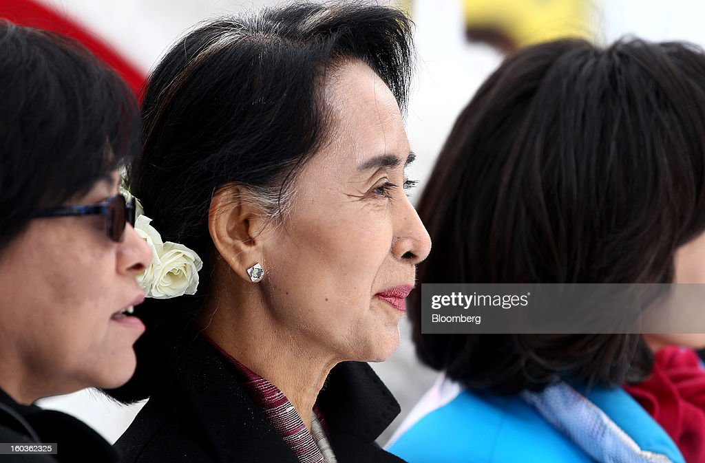 <a gi-track='captionPersonalityLinkClicked' href=/galleries/search?phrase=Aung+San+Suu+Kyi&family=editorial&specificpeople=214208 ng-click='$event.stopPropagation()'>Aung San Suu Kyi</a>, Myanmar's opposition leader, center, visits the 2013 Pyeongchang Special Olympics Winter Games in Pyeongchang, South Korea, on Wednesday, Jan. 30, 2013. Suu Kyi is on a five-day visit to South Korea. Photographer: SeongJoon Cho/Bloomberg via Getty Images