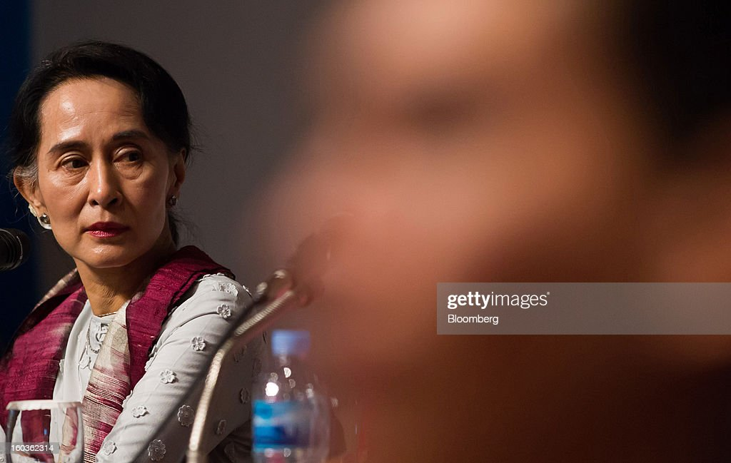 <a gi-track='captionPersonalityLinkClicked' href=/galleries/search?phrase=Aung+San+Suu+Kyi&family=editorial&specificpeople=214208 ng-click='$event.stopPropagation()'>Aung San Suu Kyi</a>, Myanmar's opposition leader, left, attends the Global Development Summit on the sidelines of the 2013 Pyeongchang Special Olympics Winter Games in Pyeongchang, South Korea, on Wednesday, Jan. 30, 2013. Suu Kyi is on a five-day visit to South Korea. Photographer: SeongJoon Cho/Bloomberg via Getty Images
