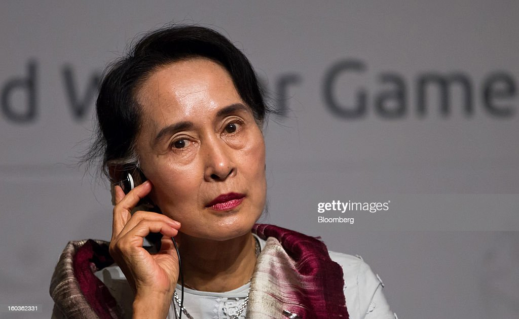 <a gi-track='captionPersonalityLinkClicked' href=/galleries/search?phrase=Aung+San+Suu+Kyi&family=editorial&specificpeople=214208 ng-click='$event.stopPropagation()'>Aung San Suu Kyi</a>, Myanmar's opposition leader, listens during the Global Development Summit on the sidelines of the 2013 Pyeongchang Special Olympics Winter Games in Pyeongchang, South Korea, on Wednesday, Jan. 30, 2013. Suu Kyi is on a five-day visit to South Korea. Photographer: SeongJoon Cho/Bloomberg via Getty Images