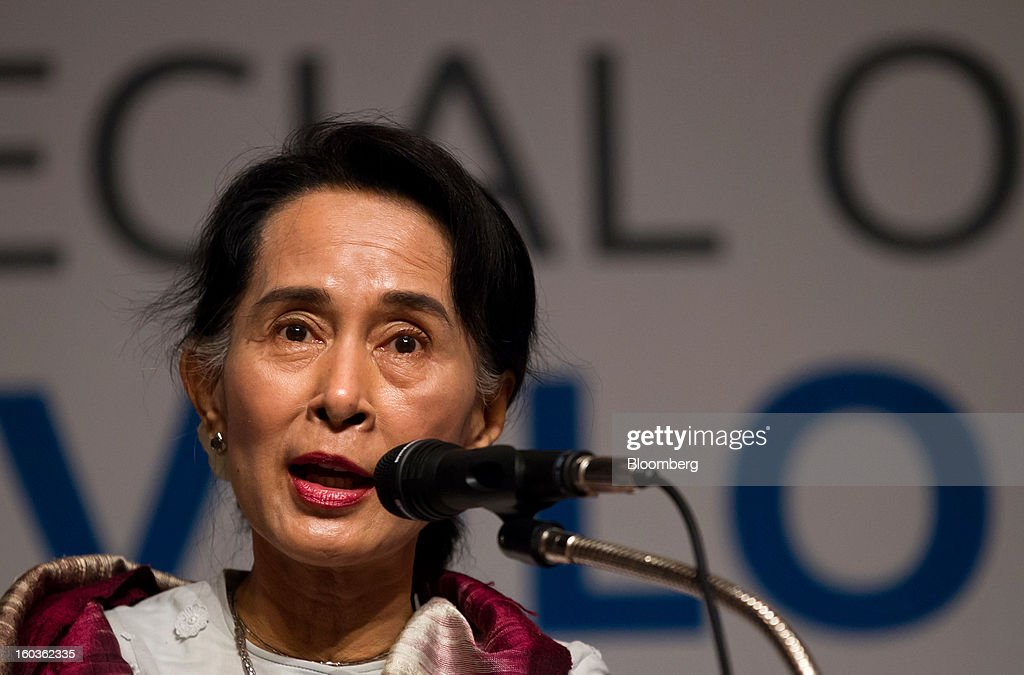 <a gi-track='captionPersonalityLinkClicked' href=/galleries/search?phrase=Aung+San+Suu+Kyi&family=editorial&specificpeople=214208 ng-click='$event.stopPropagation()'>Aung San Suu Kyi</a>, Myanmar's opposition leader, speaks during the Global Development Summit on the sidelines of the 2013 Pyeongchang Special Olympics Winter Games in Pyeongchang, South Korea, on Wednesday, Jan. 30, 2013. Suu Kyi is on a five-day visit to South Korea. Photographer: SeongJoon Cho/Bloomberg via Getty Images