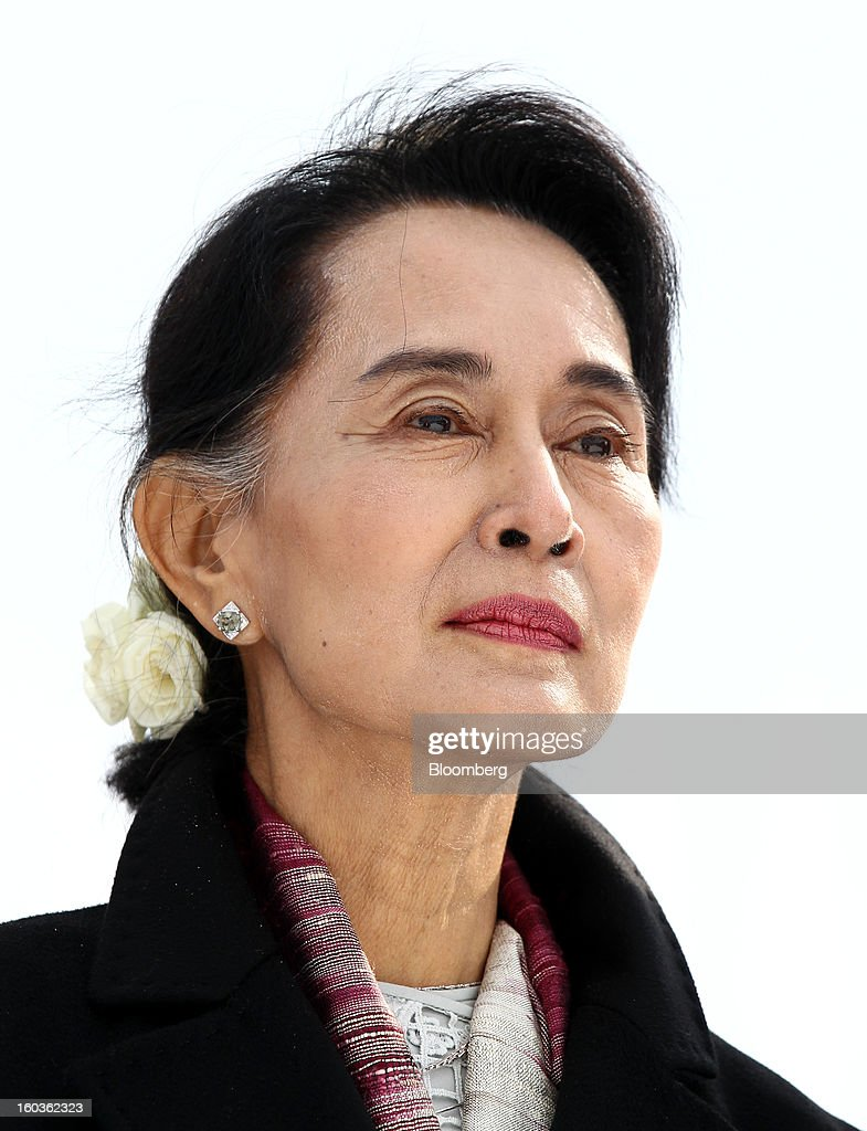 <a gi-track='captionPersonalityLinkClicked' href=/galleries/search?phrase=Aung+San+Suu+Kyi&family=editorial&specificpeople=214208 ng-click='$event.stopPropagation()'>Aung San Suu Kyi</a>, Myanmar's opposition leader, visits the 2013 Pyeongchang Special Olympics Winter Games in Pyeongchang, South Korea, on Wednesday, Jan. 30, 2013. Suu Kyi is on a five-day visit to South Korea. Photographer: SeongJoon Cho/Bloomberg via Getty Images