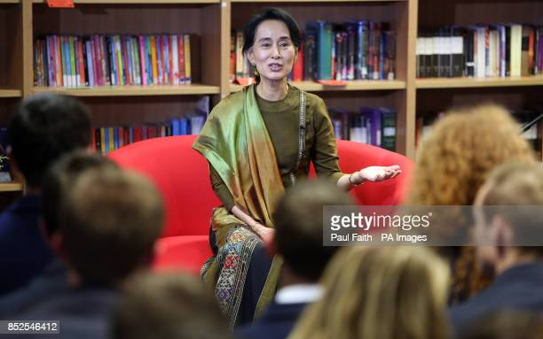 Aung San Suu Kyi takes questions from pupils at Wellington College in Belfast The Nobel laureate has said lessons from Northern Ireland's peace...