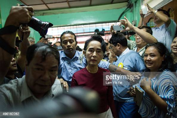 Aung San Suu Kyi the Burmese opposition politician chairperson of the National League for Democracy in Burma and Nobel Peace Prize winner arrives at...