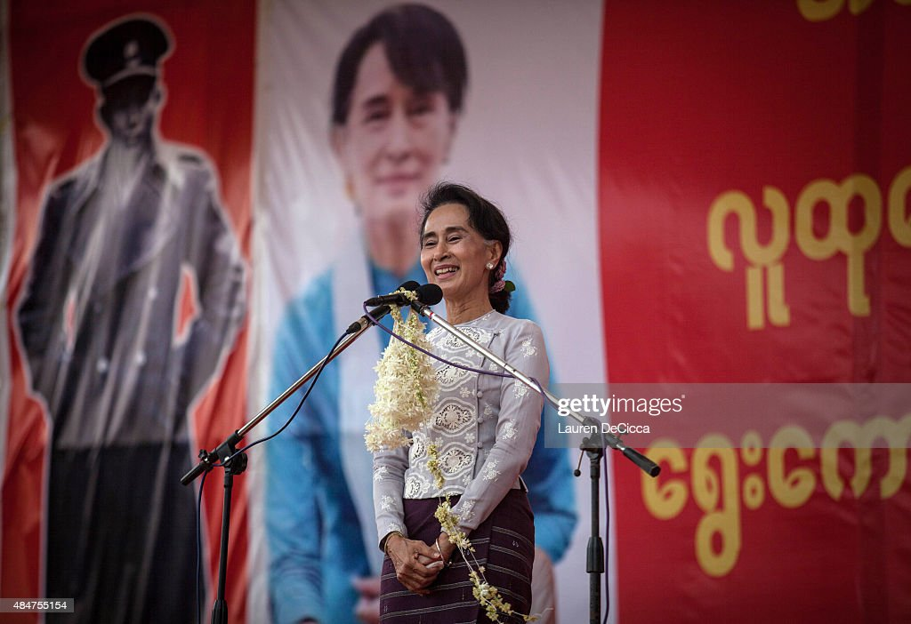 <a gi-track='captionPersonalityLinkClicked' href=/galleries/search?phrase=Aung+San+Suu+Kyi&family=editorial&specificpeople=214208 ng-click='$event.stopPropagation()'>Aung San Suu Kyi</a>, the leader of Myanmar's National League for Democracy, speaks at voter education rally on August 21, 2015 in Yangon, Burma. <a gi-track='captionPersonalityLinkClicked' href=/galleries/search?phrase=Aung+San+Suu+Kyi&family=editorial&specificpeople=214208 ng-click='$event.stopPropagation()'>Aung San Suu Kyi</a> is delivering a speech to prepare voters for the upcoming election in November.