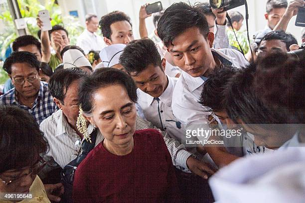 Aung Sun Suu Kyi visits the hospitality training school that was built by the Daw Khin Kyi Foundation in her constituency of Kaw Hmu during Myanmar's...