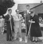 JUN 13 1954 JUN 14 1954 'Aunt' Martha Liljeberg the oldest member of Emman¡uel Methodist church prepares to dig the first shovelful of earth for the...