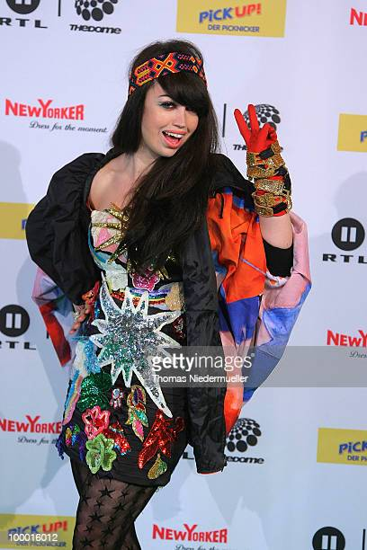Aura Dione arrives at 'The Dome 54' at the HannsMartin Schleyer Halle on May 20 2010 in Stuttgart Germany