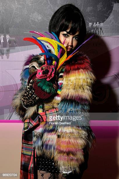 Aura Dione poses at the Burda Style Group Preview during the MercedesBenz Fashion Week Berlin Autumn/Winter 2010 at the Hamburger Bahnhof on January...