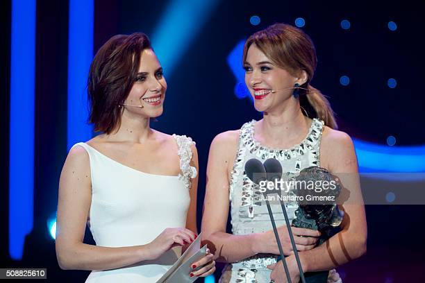 Aura Garrido and Marta Hazas attend the 30th edition of the 'Goya Cinema Awards' ceremony at Madrid Marriott Auditorium on February 6 2016 in Madrid...