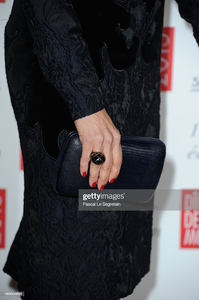 Aure Atika (purse detail) poses as she arrives to attend the Sidaction Gala Dinner 2013 at Pavillon d'Armenonville on January 24, 2013 in Paris, France.