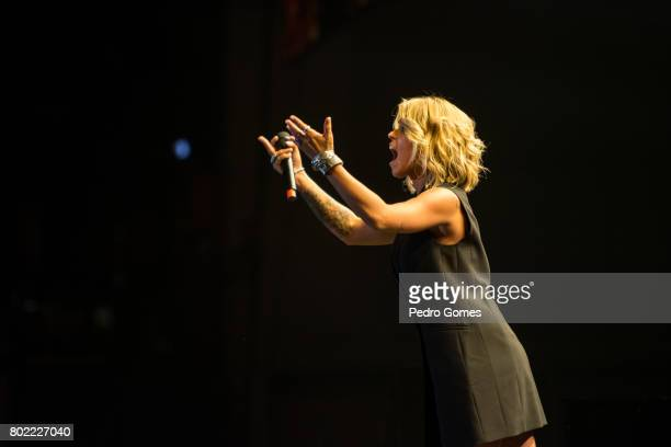 Aurea performs during Juntos por Todos solidarity concert for the victims of the forest fires in the Pedrogao Grande region of Portugal on June 27...