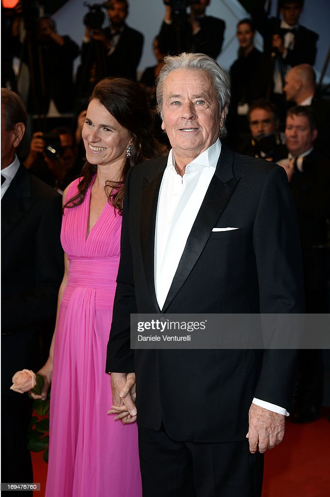 Aurelie Filippetti and actor <a gi-track='captionPersonalityLinkClicked' href=/galleries/search?phrase=Alain+Delon&family=editorial&specificpeople=228460 ng-click='$event.stopPropagation()'>Alain Delon</a> attend the Premiere of 'Only Lovers Left Alive' during the 66th Annual Cannes Film Festival at the Palais des Festivals on May 25, 2013 in Cannes, France.