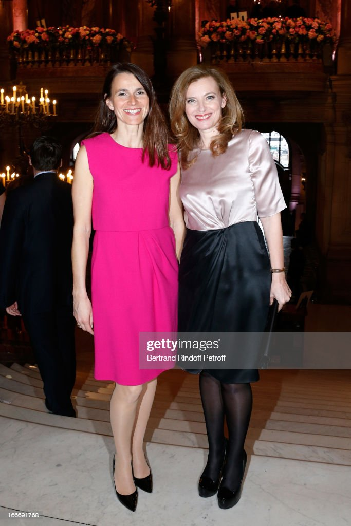 Aurelie Filippetti and Valerie Trierweiler attend Tricentenary of the French dance school, AROP Gala, at Opera Garnier on April 15, 2013 in Paris, France.