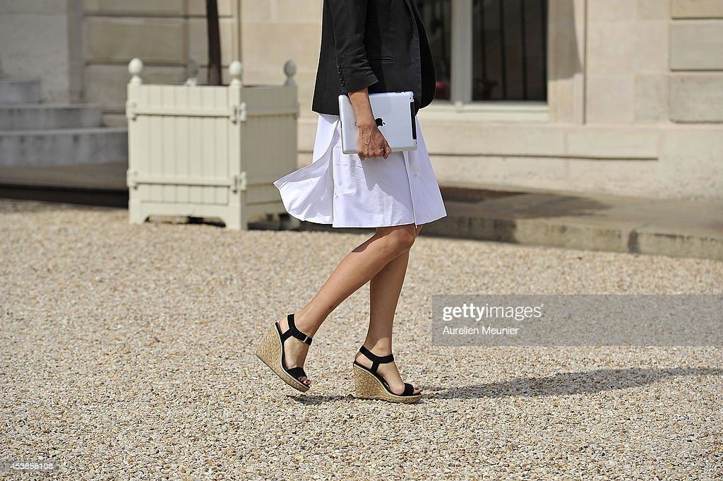 Aurelie Filippetti, French Minister of Culture and Communication attends a cabinet meeting at Elysee Palace on August 20, 2014 in Paris, France.