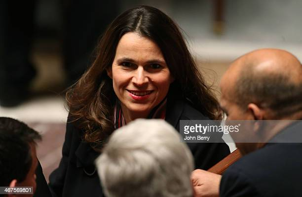 Aurelie Filippetti french Minister of Culture participates at the Questions to the Government at the french National Assembly on February 4 2014 in...