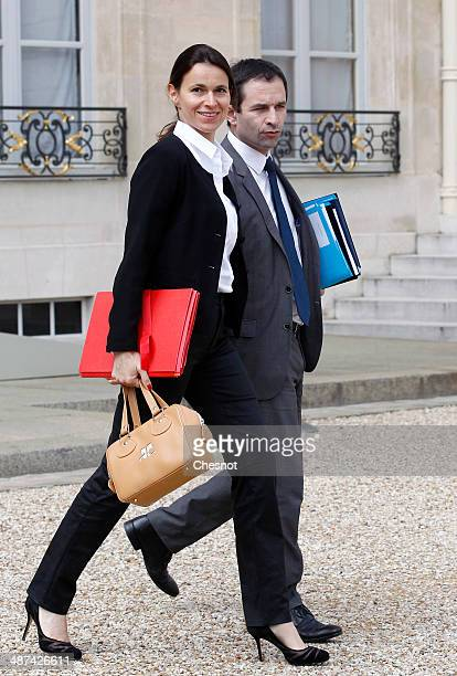 Aurelie Filippetti Minister of Culture and Communication and Benoit Hamon Minister of National Education Higher Education and Research leave after a...
