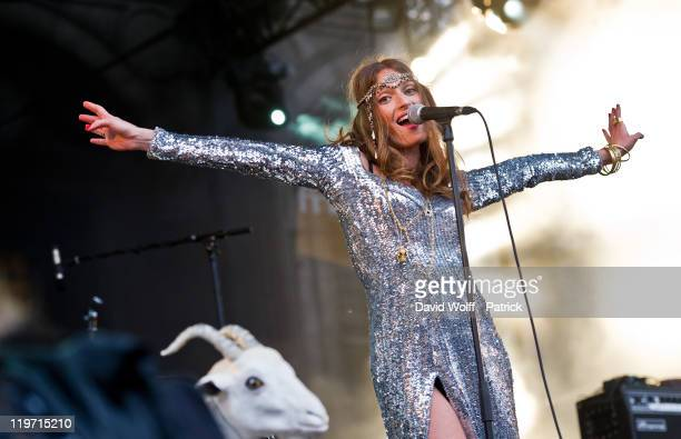 Aurelie Maggiori from Brigitte performs at Festival Fnac Live at Parvis De L'Hotel de Ville on July 23 2011 in Paris France