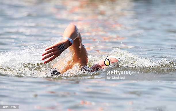 Aurelie Muller of France on her way to winning the Women's 10km Open water during day four of the16th Fina World Aquatics Championships on July 28...
