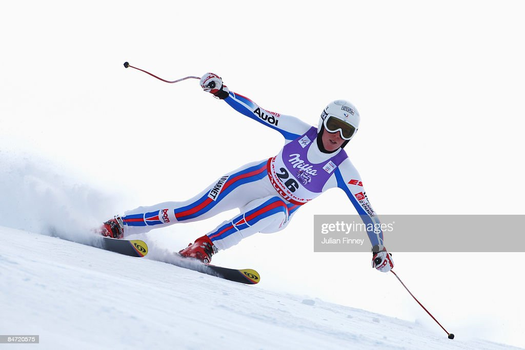 Aurelie Revillet of France skis during the Women's Downhill event held on the Face de Solaise course on February 9, 2009 in Val d'Isere, France.