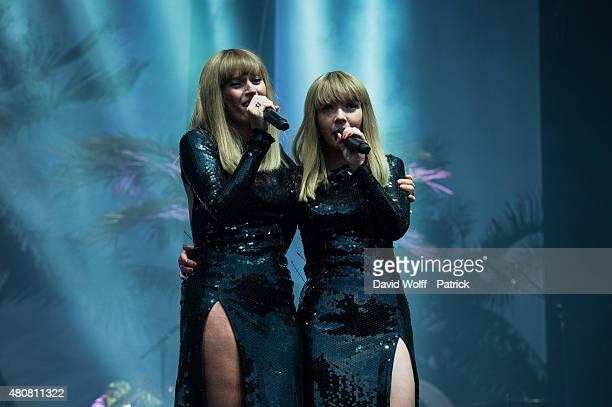 Aurelie Saada and Sylvie Hoarau from Brigitte performs at Fnac Live on July 15 2015 in Paris France