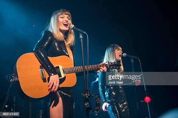 Aurelie Saada and Sylvie Hoarau of Brigitte perform on stage at Sala Apolo on February 10 2015 in Barcelona Spain