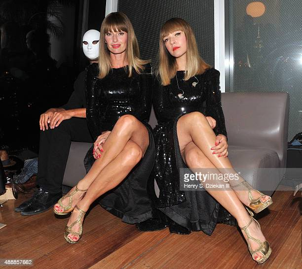 Aurelie Saada and Sylvie Hoarau of Brigitte pose for pictures backstage at Brigitte performs in concert at The Standard Hotel on September 17 2015 in...