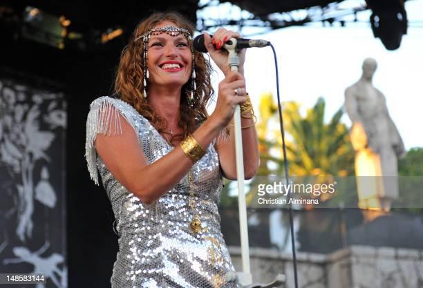 Aurelie Saada of Brigitte performs on stage during the 'Crazy Week' Festival at Theatre de Verdure on July 18 2012 in Nice France