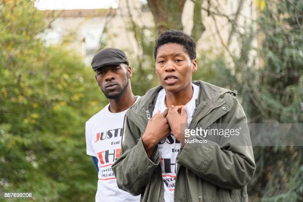 Aurelie sister ofTheo Luhaka during a rally against police violence organized by the Justice for Theo group outside the courthouse of Bobigny near...