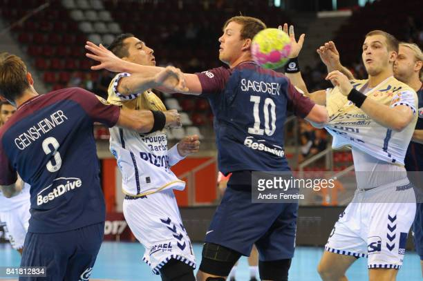 Aurelien Abily of Saint Raphael and Sander Sagosen of PSG during the semi final match of the Handball Champions Trophy between Paris Saint Germain...