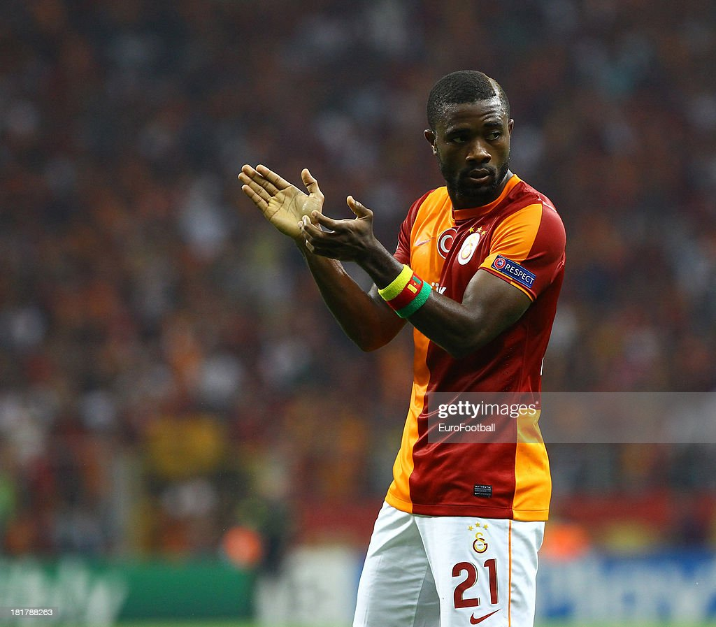 <a gi-track='captionPersonalityLinkClicked' href=/galleries/search?phrase=Aurelien+Chedjou&family=editorial&specificpeople=4520971 ng-click='$event.stopPropagation()'>Aurelien Chedjou</a> of Galatasaray AS in action during the UEFA Champions League group stage match between Real Madrid CF and Galatasaray AS held on September 17, 2013 at the Ali Sami Yen Spor Kompleksi, in Istanbul, Turkey.