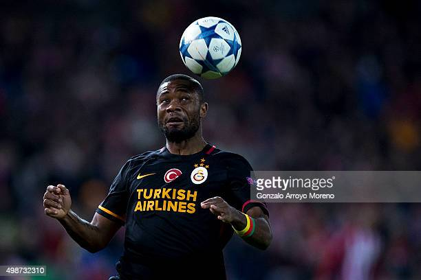Aurelien Chedjou of Galatasaray AS saves on a header during the UEFA Champions League Group C match between Club Atletico de Madrid and Galatasaray...