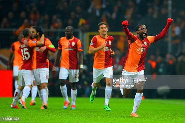 Aurelien Chedjou of Galatasaray celebrates scoring their first goal during the UEFA Champions League Round of 16 first leg match between Galatasaray...