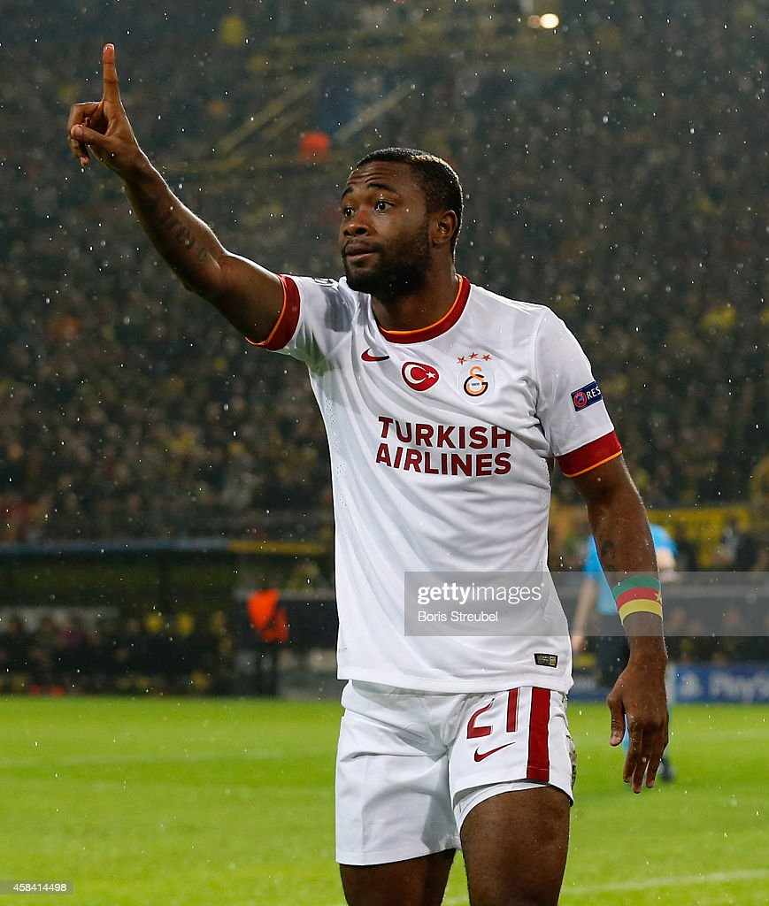 <a gi-track='captionPersonalityLinkClicked' href=/galleries/search?phrase=Aurelien+Chedjou&family=editorial&specificpeople=4520971 ng-click='$event.stopPropagation()'>Aurelien Chedjou</a> of Galatasaray gestures during the UEFA Champions League Group D match between Borussia Dortmund and Galatasaray AS at Signal Iduna Park on November 4, 2014 in Dortmund, Germany.