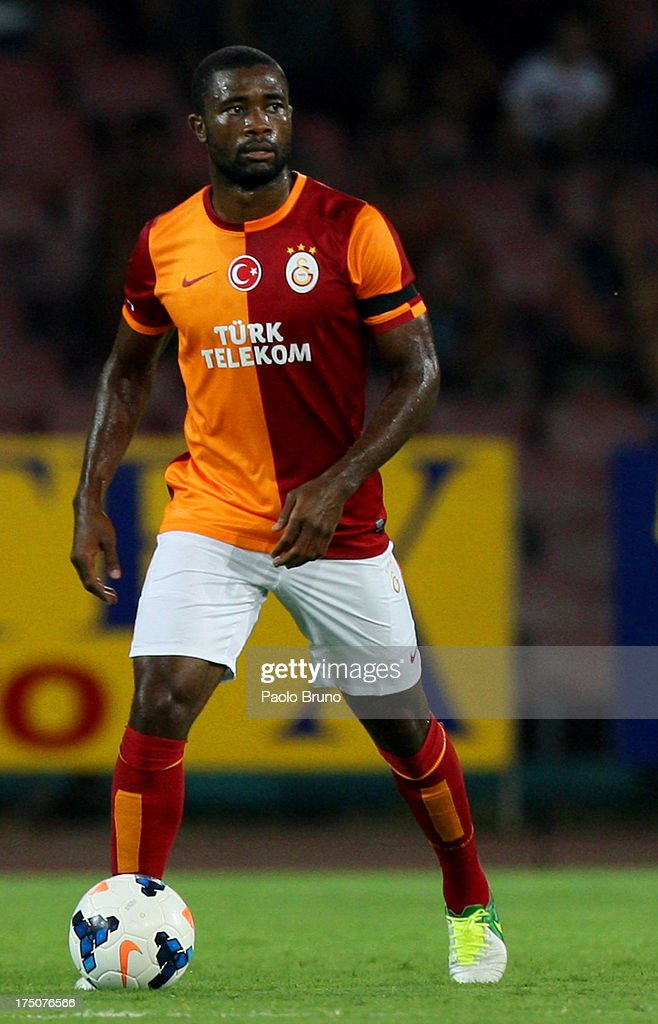 <a gi-track='captionPersonalityLinkClicked' href=/galleries/search?phrase=Aurelien+Chedjou&family=editorial&specificpeople=4520971 ng-click='$event.stopPropagation()'>Aurelien Chedjou</a> of Galatasaray in action during the pre-season friendly match between SSC Napoli and Galatasaray at Stadio San Paolo on July 29, 2013 in Naples, Italy.