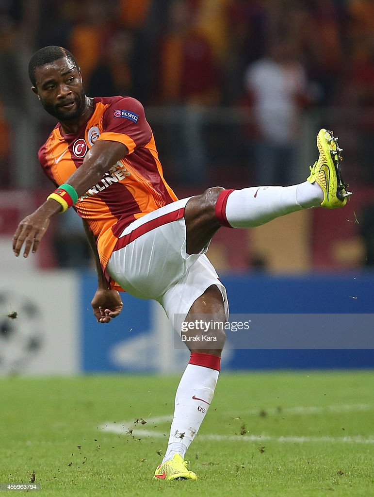 Aurelien Chedjou of Galatasaray kicks the ball during the UEFA Champions League group D match between Galatasaray AS and RSC Anderlecht on September 16, 2014, at TT Arena Stadium in Istanbul, Turkey.